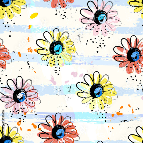 seamless blossom, flower pattern background, with stripes, paint strokes and splashes