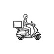 Employee riding delivery bike hand drawn outline doodle icon. Motorbike and business, courier, scooter concept. Vector sketch illustration for print, web, mobile and infographics on white background.