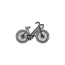 Woman Bike With Basket Hand Drawn Outline Doodle Icon. Retro Bicycle, Ladies Cycling And Shopping Concept. Vector Sketch Illustration For Print, Web, Mobile And Infographics On White Background.