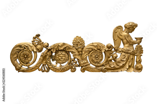 Fotografie, Obraz  Bronze ornament on a white background.