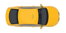 Taxi Car Top Down View. Yellow...