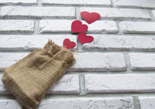Valentine's Day, Red Hearts Canvas Bag, Background White Brick Wall