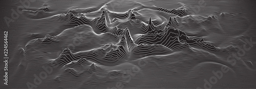 Spoed Foto op Canvas Grijze traf. Vector 3d echo audio wavefrom spectrum. Music waves oscillation graph futuristic visualization. Black and white line impulse pattern. Or Abstract relief map. Landscape elevation concept.