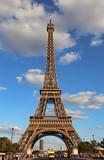 Fototapeta Fototapety z wieżą Eiffla - Very high Eiffel Tower and the blue sky with clouds
