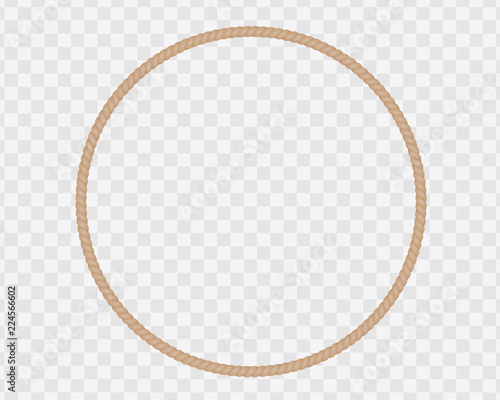 Circular frame made of natural rope or cord, isolated on a transparent backgroun Fototapet