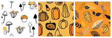 Autumn Pattern Set. Perfect For Wallpaper, Gift Paper, Pattern Fills, Web Page Background, Autumn Greeting Cards. Fall And Hall Oween Vector Illustration