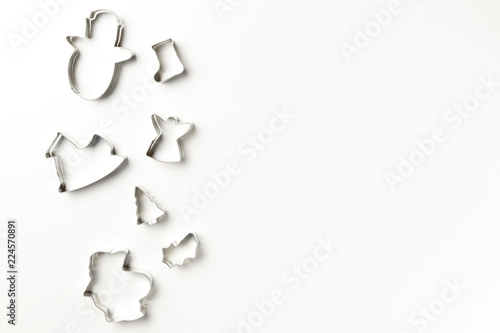 Fotografie, Obraz  Christmas cookies various shape cutter on white background with copy space
