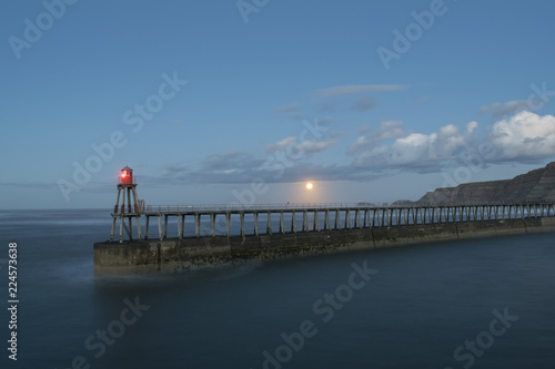 Printed kitchen splashbacks Purple Whitby North Yorkshire East Pier Moonrise