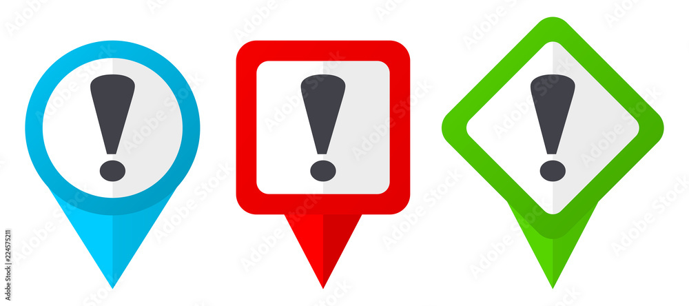 Fototapety, obrazy: Exclamation sign red, blue and green vector pointers icons. Set of colorful location markers isolated on white background easy to edit.