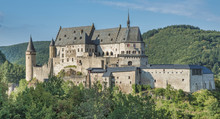 The Vianden Castle On A Blue Sky Background , Luxembourg, Europe