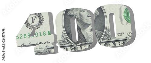 400 3D render illustration American dollar banknotes  Money