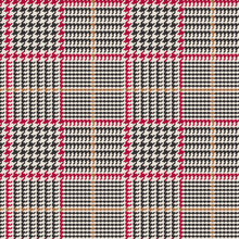 Prince Of Wales Style Glen Plaid Vector Pattern In Brown Black With Red And Beige Overcheck Stripes. Trendy Classic High Fashion Print. 8x8 Check Houndstooth. Pixel Perfect Seamless Tile Swatch Incl
