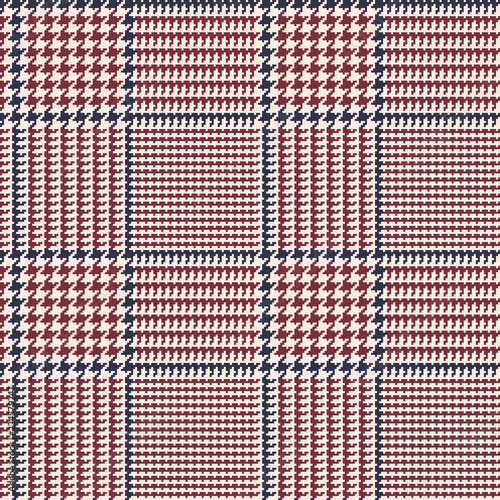 Photo  Prince of Wales Style Glen Plaid Vector Pattern in Dark Brown Red with Navy Blue Overcheck Stripes