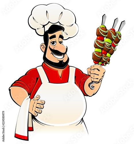 Fotografie, Obraz  Arabiс chef with kebab in hands. Emblem, avatar, logo.