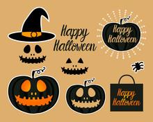 Set Dark Jack Lantern Pumpkin Happy Halloween Jackolantern. Vector Illustration Isolated On Gold Background.