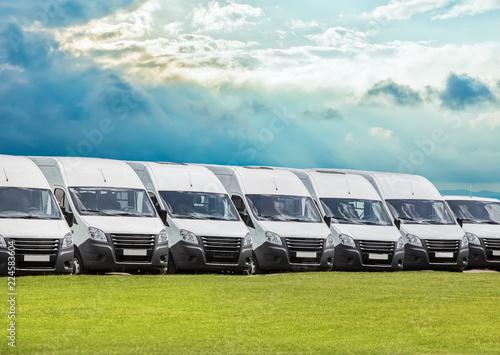 Deurstickers Oude auto s new white minibuses