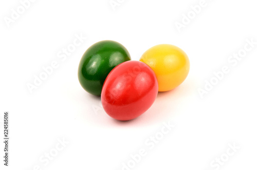 Fotografía  Colorful of Easter eggs or Paschal eggs on white background with space for text