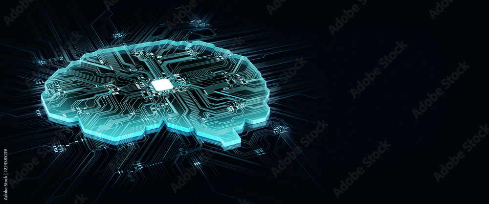 Fototapeta human brain on technology background represent artificial intelligence and cyber space concept