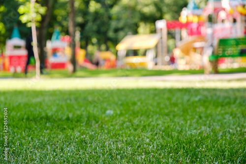 Colorful playground on yard in the park. Fun childhood #224592604
