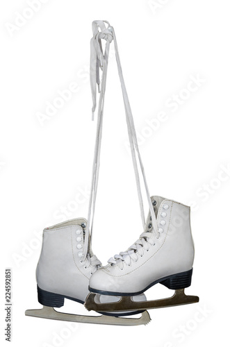 Old white skates for figure skating with. The selected path. Isolated on white background.