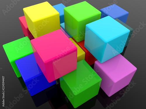 Different color cubics on black background