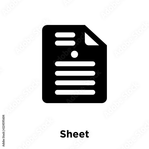Sheet Icon Vector Isolated On White Background Logo Concept Of