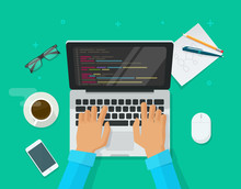 Programmer Coding On Laptop Computer On Work Desk Vector Illustration, Cartoon Flat Freelancer Sitting On Working Table And Programming Code On Pc, Web Developer Table Top View