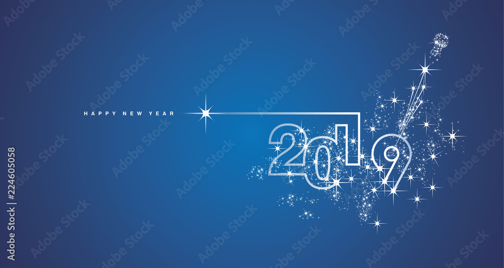 Fototapety, obrazy: New Year 2019 line design firework champagne white blue vector