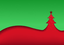 Green-red Abstract Christmas Background Illustration - Christmas Tree Cut Out In A Green Flap Of Red Greeting Card, Vector