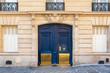 canvas print picture Paris, old wooden door boulevard des Batignolles, beautiful entry porch
