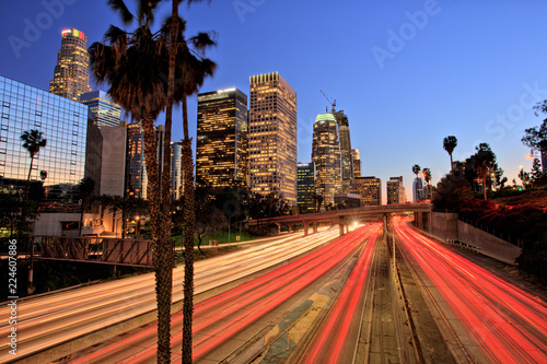 Spoed Foto op Canvas Los Angeles City of Los Angeles Downtown at Sunset With Light Trails