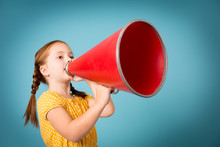 Girl Announcing With Megaphone, Isolated On Teal