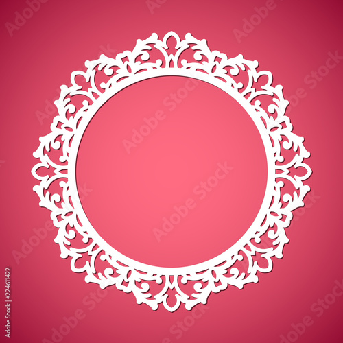 cbcf17938b43 Laser cut vector abstract circular frame with swirls