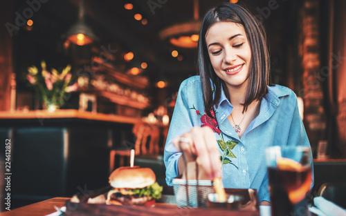 Slika na platnu Breakfast in a cafe. Food, lifestyle concept