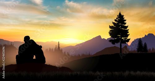 Fotografía Loving couple hugs each other at sunset