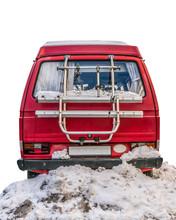 Retro Camper In The Snow