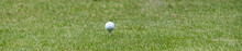 White Golf Ball On A Tee Banner With A Shallow Depth Of Field And Copy Space