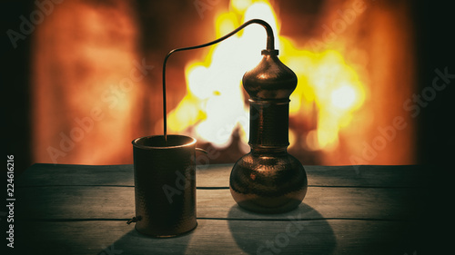 Copper alembic distiller 3d illustration Wallpaper Mural