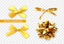 Bows Color Golden Realistic Design. Isolated Gift Bows With Ribbons With Shadow