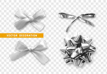 Bows Color Silver Realistic Design. Isolated Gift Bows With Ribbons With Shadow.