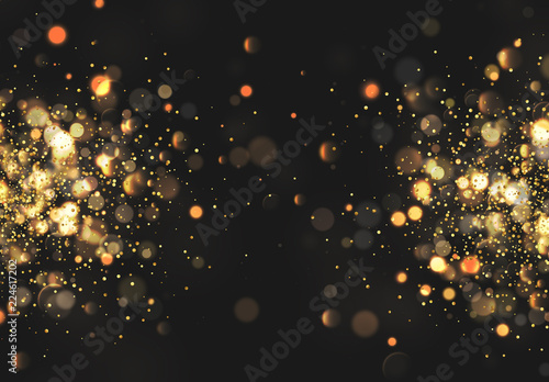 Fotografia Christmas golden lights. Background of bright glow bokeh.