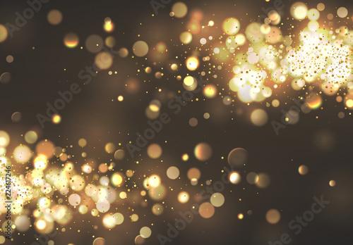 Fototapeta Christmas golden lights. Background of bright glow bokeh. obraz na płótnie