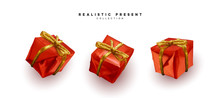 Set Presents. Red Gift Boxes R...