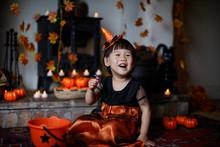 Toddler Girl Playing In Hallow...