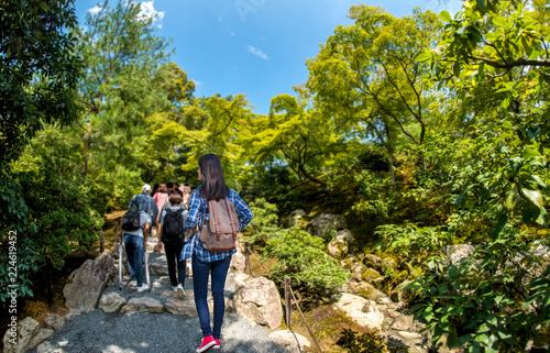 Tourists walking in Kinkakuji Temple  The Golden Pavilion in Kyoto, Japan Tableau sur Toile