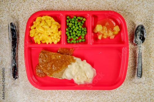 Foto op Aluminium Assortiment School Lunch Salisbury Steak