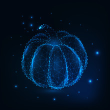 Autumn Glowing Halloween Or Thanksgiving Pumpkin Made Of Stars, Lines, Low Polygonal Shapes On Dark Blue Background.