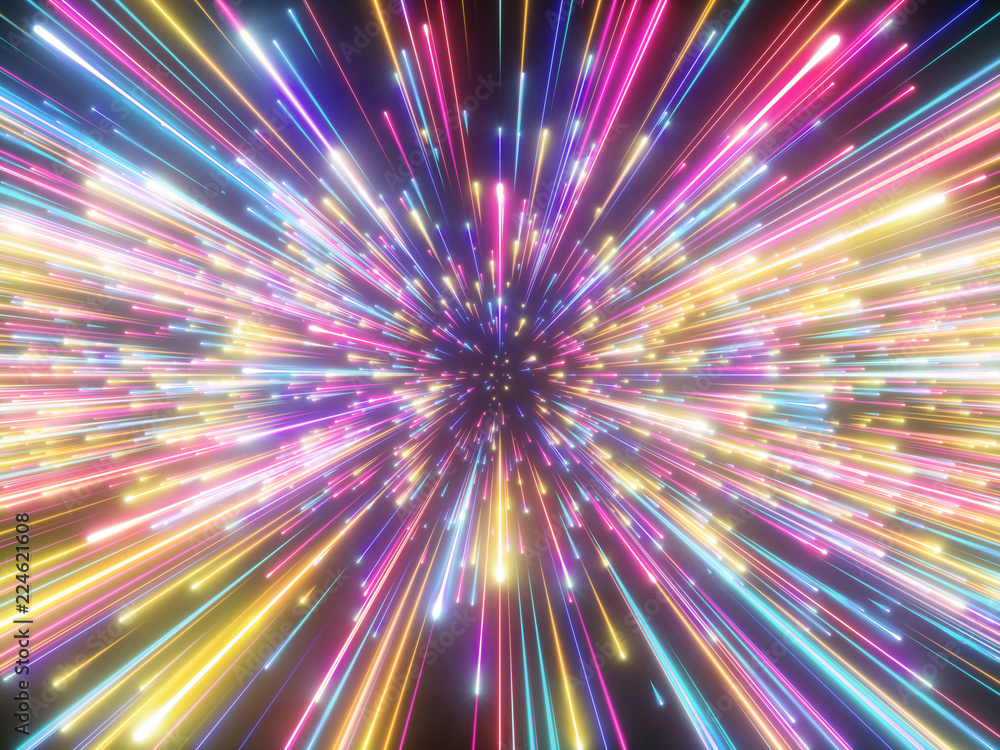 Fototapety, obrazy: 3d render, colorful fireworks, big bang, galaxy, abstract cosmic background, celestial, beauty of universe, speed of light, neon glow, stars, cosmos, ultraviolet infrared vibrant light, outer space