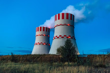 Cooling Towers Of Novovoronezh Nuclear Power Plant At Night