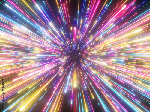 Obraz 3d render, colorful fireworks, big bang, galaxy, abstract cosmic background, celestial, beauty of universe, speed of light, neon glow, stars, cosmos, ultraviolet infrared vibrant light, outer space - fototapety do salonu